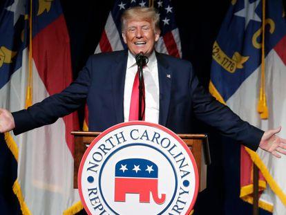 El expresidente de Estados Unidos, Donald Trump, durante un mitin en Carolina del Norte.