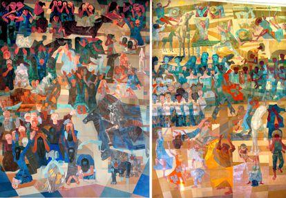 Enfrentados, 'Guerra' (a la izquierda) y 'Paz'. La inhalacióon de plomo mientras pintaba estos murales costó la vida a su autor, el brasileño Cândido Portinari. |