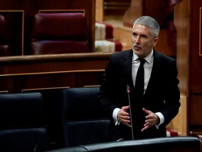 El ministro del Interior, Fernando Grande-Marlaska, el pasado miércoles en el Congreso.