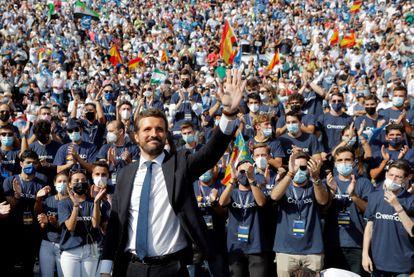 El presidente del PP, Pablo Casado, en la Convención Nacional del PP, el pasado 3 de octubre, en Valencia.