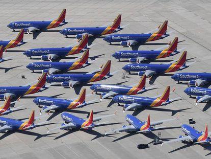 Aviones del modelo 737 MAX de la compañía Southwest Airlines, en California.