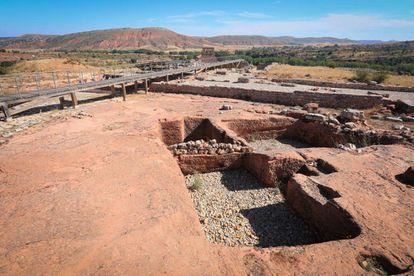 Restos del foro romano, en el yacimiento de Tiermes (Soria).