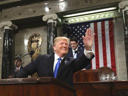Donald Trump, a su llegada al Capitolio de Washington.