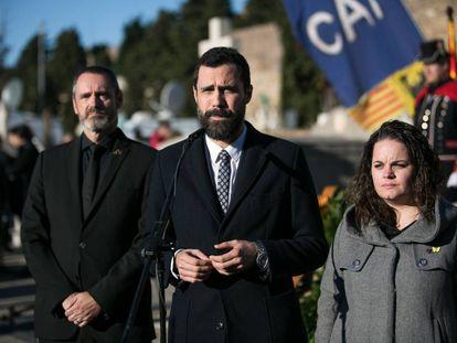 Roger Torrent, el pasado día 25 en la ofrenda floral a la tumba del presidente Francesc Macia.