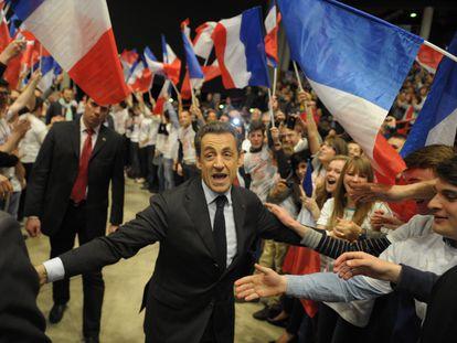 El expresidente francés Nicolas Sarkozy en Dijon durante un mitin en la campaña presidencial de 2012.