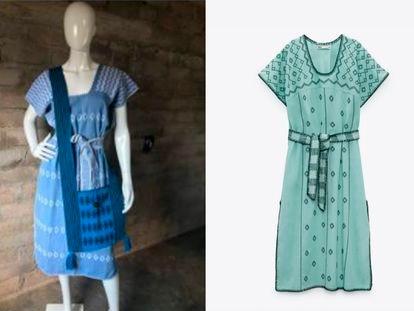 Un vestido elaborado por indígenas mixtecas de Oaxaca (izquierda) y uno muy similar de la marca española Zara (derecha).