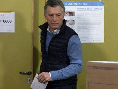 Mauricio Macri durante la jornada electoral.