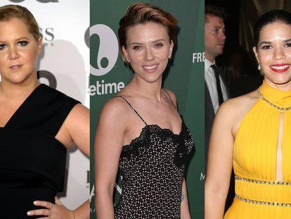 Las actrices, de izquierda a derecha, Amy Schumer, Scarlett Johansson y America Ferrera.