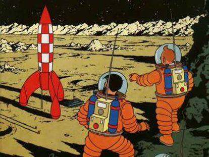 Viñeta del cómic 'Objetivo: la Luna', de las aventuras de Tintín.