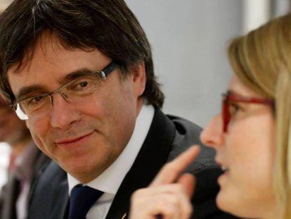 Puigdemont en una reunión en Berlín de su grupo parlamentario.