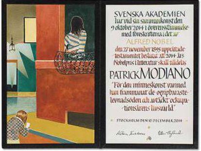 El diploma del Nobel para Patrick Modiano contó con las ilustraciones de Jens Fänge, la caligrafía Annika Rücker, y la encuadernación de Ingemar Dackéus.