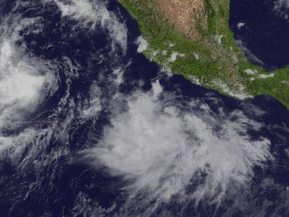 Imagen satelital del huracán Linda en las costas mexicanas.