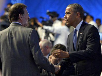 Foto del encuentro de Rajoy y Obama durante la cumbre del  G-20 en Los Cabos (Mëxico), en junio pasado.