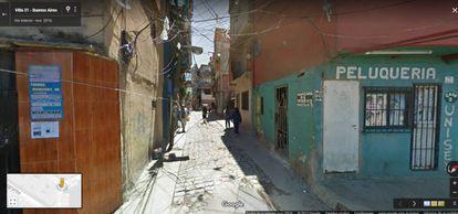 Captura de pantalla de la villa 31 en Google Street View.