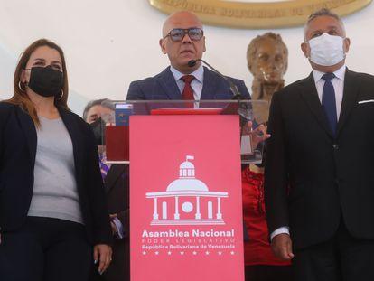 El presidente del Parlamento de Venezuela, Jorge Rodríguez, en una rueda de prensa este miércoles, en Caracas.