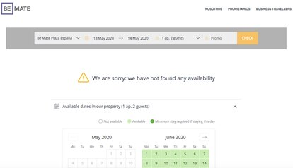 Web de reservas de Be Mate, bloqueada este miércoles a última hora de la tarde.