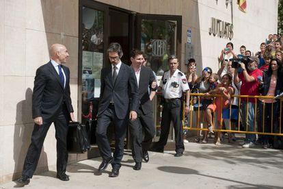 Messi, cuando fue a declarar por fraude fiscal, en septiembre de 2013