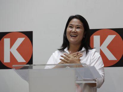 Keiko Fujimori, en una rueda de prensa el pasado domingo, en Lima, Perú.