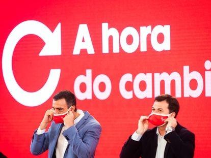 Pedro Sánchez y Gonzalo Caballero, en un mitin del PSOE en Galicia.