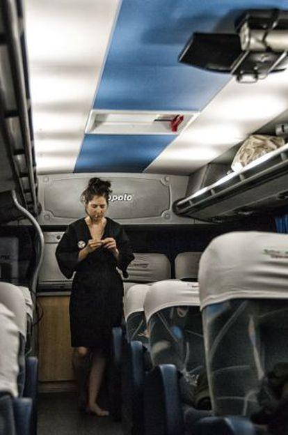 Representación del proyecto en Buenos Aires en el interior de un autobús