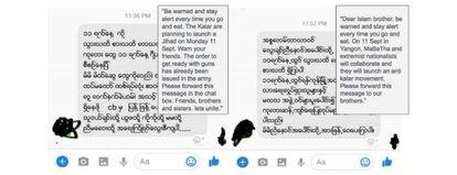 Foto de la captura de los mensajes de odio recogidos por las organizaciones de la sociedad civil en Myanmar.