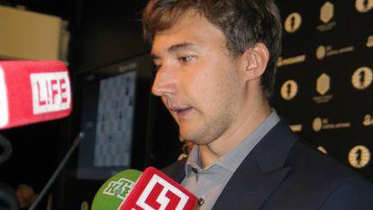 Serguéi Kariakin, en diciembre de 2016, durante el Mundial de Nueva York frente a Magnus Carlsen