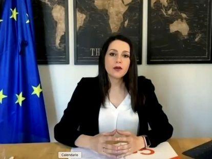La presidenta de Ciudadanos, Inés Arrimadas, interviene en la asamblea general de su partido de forma telemática.