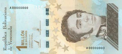 Billete de 1 millón de bolívares soberanos de Venezuela.