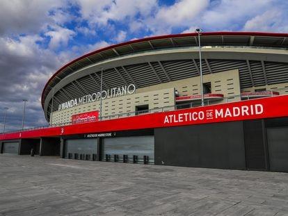 Vista exterior del Wanda Metropolitano durante los días de estado de alarma en España