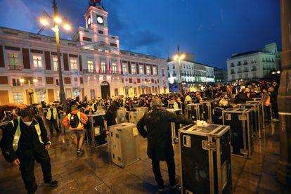 Concentración del movimiento Alerta Roja, hoy en la madrileña Puerta del Sol.