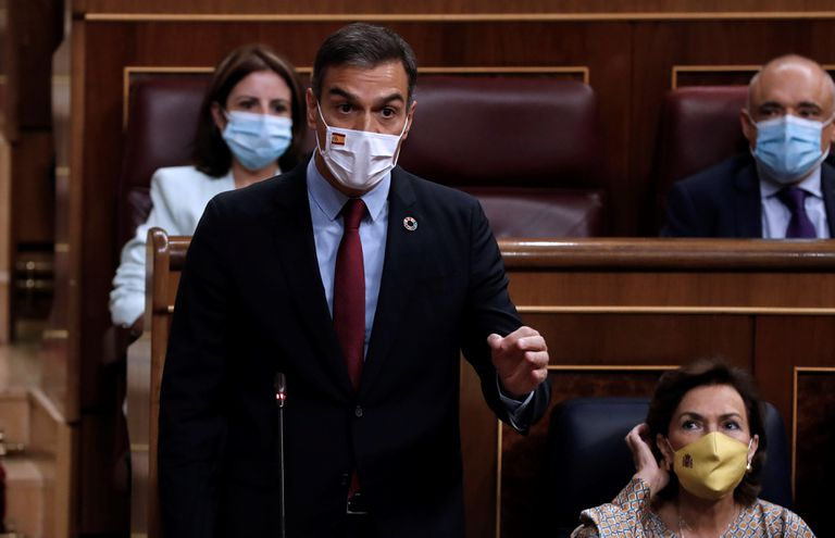 El presidente del Gobierno, Pedro Sánchez, durante la sesión de control al Gobierno en el Congreso, este miércoles.