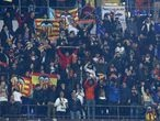 Valencia supporters during the UEFA Champions League Round of 16 first leg match Atalanta BC v Valencia Cf at the San Siro Stadium in Milan, Italy on February 19, 2020  (Photo by Matteo Ciambelli/NurPhoto via Getty Images)
