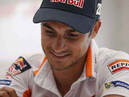 Dani Pedrosa, durante la entrevista en el circuito de Brno.