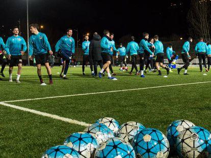 El Andorra, durante un entrenamiento de la pasada temporada.
