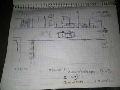El cuaderno escolar donde hizo los planos el joven.