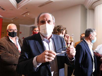 El candidato del PSOE a la Presidencia de la Comunidad de Madrid, Ángel Gabilondo, en la noche electoral del 4-M.
