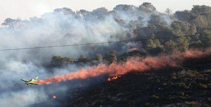 Una avioneta trabaja en la extinción de un incendio forestal registrado cerca de la localidad de Haifa, norte de Israel.
