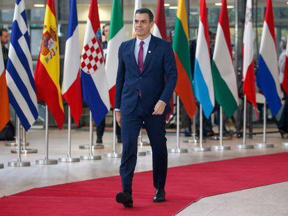 Pedro Sánchez, a su llegada a la cumbre de Bruselas, el 12 de diciembre de 2019.