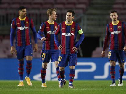 Aráujo, De Jong, Messi y Lenglet en el partido ante la Juventus en el Camp Nou.