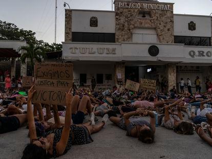 La protesta este lunes en Tulum por la muerte de Victoria Salazar a manos de la policía.
