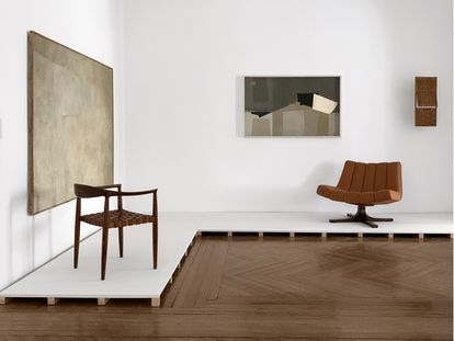 De izquierda a derecha: silla Biosca (1959), Butaca Granada (1964) y maqueta para celosía (c. 1964).