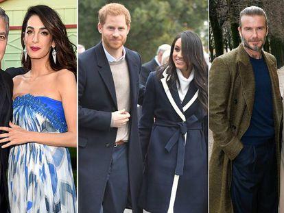 De izquierda a derecha, George y Amal Clooney, Enrique de Inglaterra y Meghan Markle y David y Victoria Beckham.