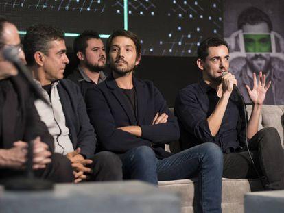 Desde la izquierda, Alejandro Calva, Francisco Franco, Diego Luna y Luis Gerardo Méndez.