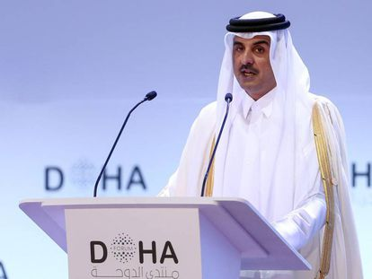El emir de Qatar, Tamim bin Hamad al Thani, el pasado sábado en el Foro de Doha.