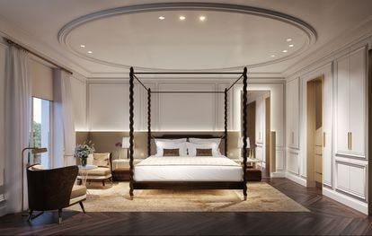 53 de las 153 habitaciones del hotel son suites. En el interior de cada una de ellas abundan las molduras, las hornacinas y veneras.