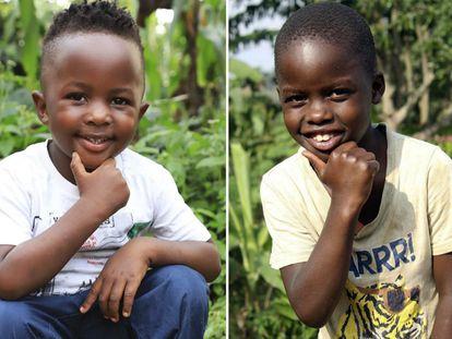 Namubiru Nabirah (izquierda) y Kigundu Emmanuel, dos de los niños del centro de acogida Masaka Kids.