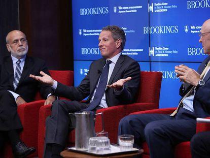 Ben Bernanke, Timothy Geithner y Hank Paulson este miércoles en Washington.