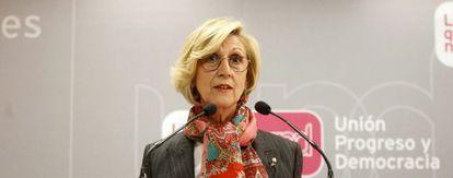 Rosa Diez en la sede de UPyD de Madrid.