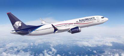 Un avión de Boeing con los colores de Aeromexico.