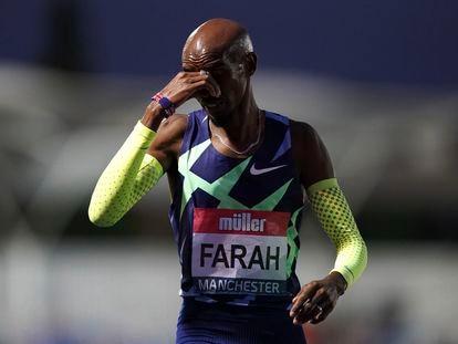 Mo Farah, después de no alcanzar el mínimo olímpico en el Campeonato Británico de Atletismo, el pasado viernes.